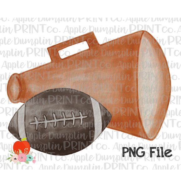 Football with Orange Megaphone Watercolor Printable Design PNG - Embroidery Boutique