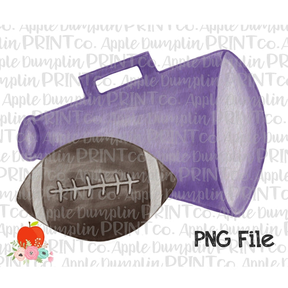 Football with Purple Megaphone Watercolor Printable Design PNG - embroidery-boutique