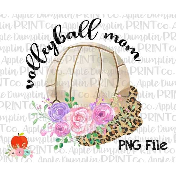 Volleyball Mom with Flowers and Leopard Splash Printable Design PNG