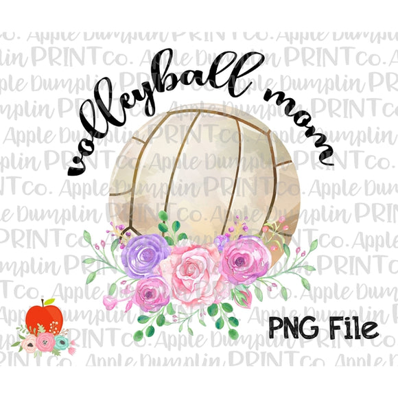 Volleyball Mom with Flowers Printable Design PNG