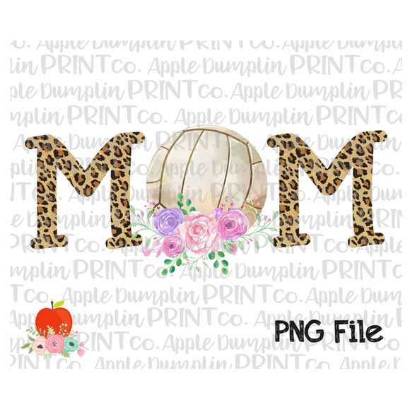 Volleyball MOM Printable Design PNG
