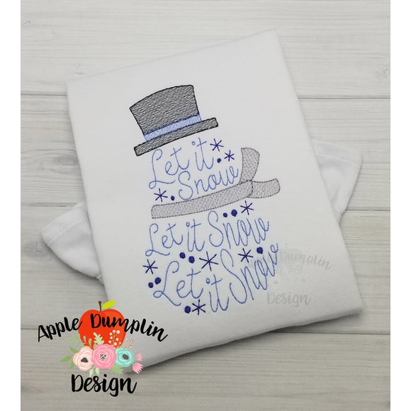 Let it Snow Snowman Sketch Embroidery Design, Applique