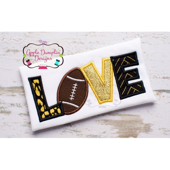 Football LOVE Applique Design, applique