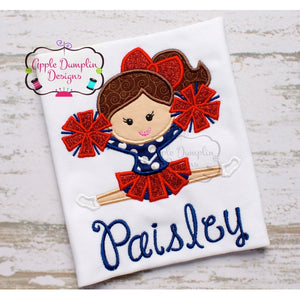 Cheerleader, with Pom Poms Applique Design - embroidery-boutique