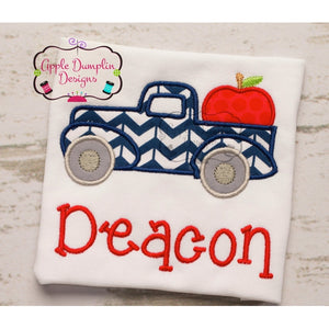 Vintage Truck with Apple Applique Design - embroidery-boutique