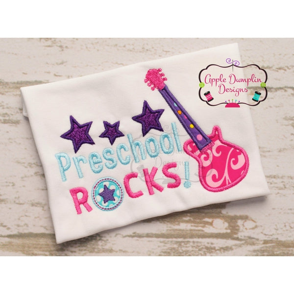 Preschool rocks applique design u embroidery boutique