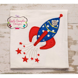 Cute Rocket with Stars Applique Design - embroidery-boutique