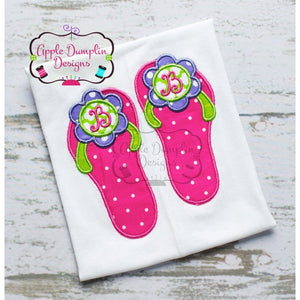 Flower Flipflops Applique Design - embroidery-boutique
