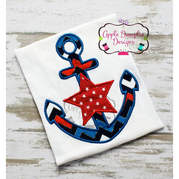 Anchor with Star Applique Design - embroidery-boutique