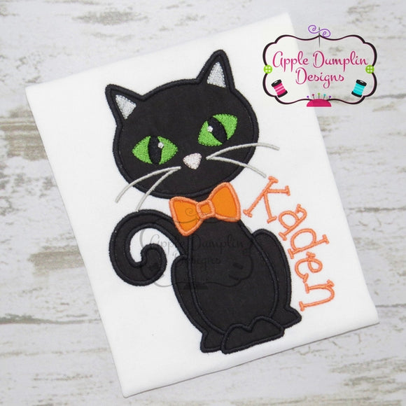Cat with Bowtie Applique Design - embroidery-boutique