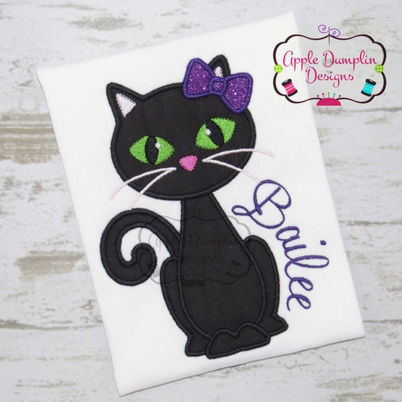 Black Cat with Bow Applique Design