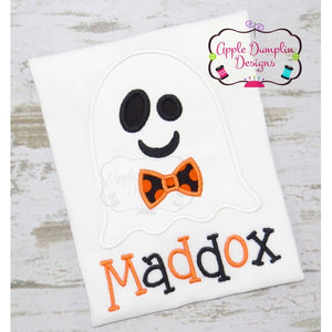 Ghost with Bowtie Applique Design - embroidery-boutique