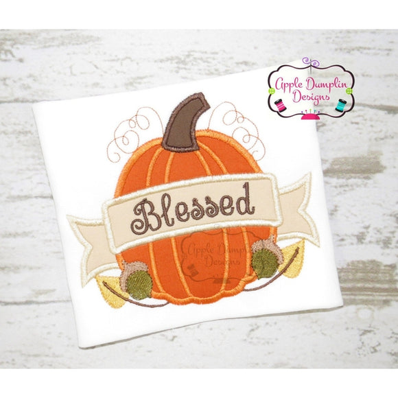 Harvest Pumpkin with Banner Applique Design - Embroidery Boutique