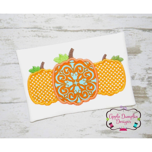 Pumpkin Trio Applique Design - embroidery-boutique