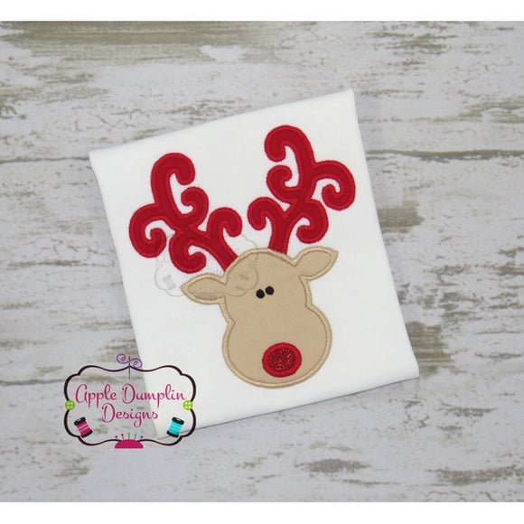 Reindeer with Curly Antlers Applique Design