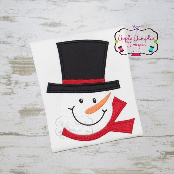 Snowman with Top Hat Applique Design