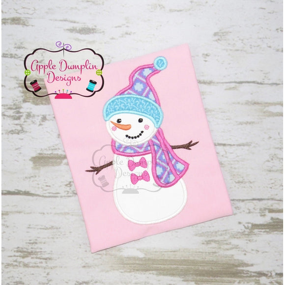 Snow Girl with Bow Buttons Applique Design
