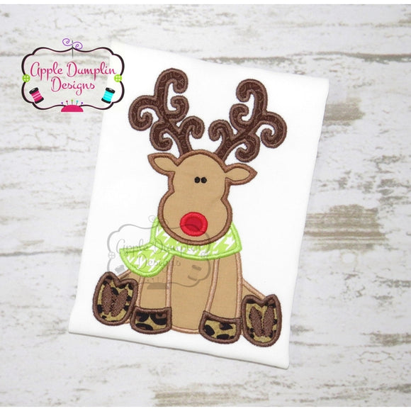Reindeer Sitting Applique Machine Embroidery Design