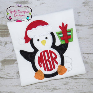 Christmas Penguin Applique Design, applique