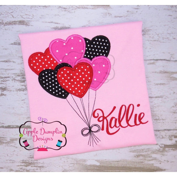 Valentine Heart Balloons Applique Design