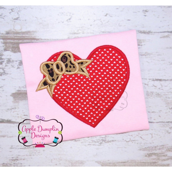 Heart with Bow Applique Design - embroidery-boutique