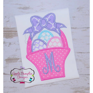 Easter Basket with Bow Applique Design - embroidery-boutique