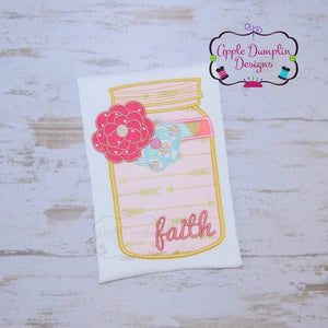 Faith Mason Jar Applique Design - embroidery-boutique