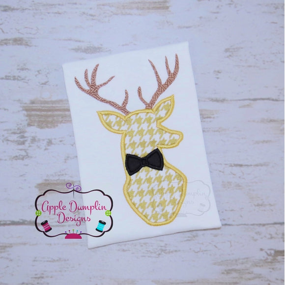 Deer with Bowtie Applique Design, applique