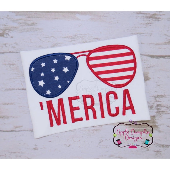 Merica'Aviator Sunglasses Applique Design