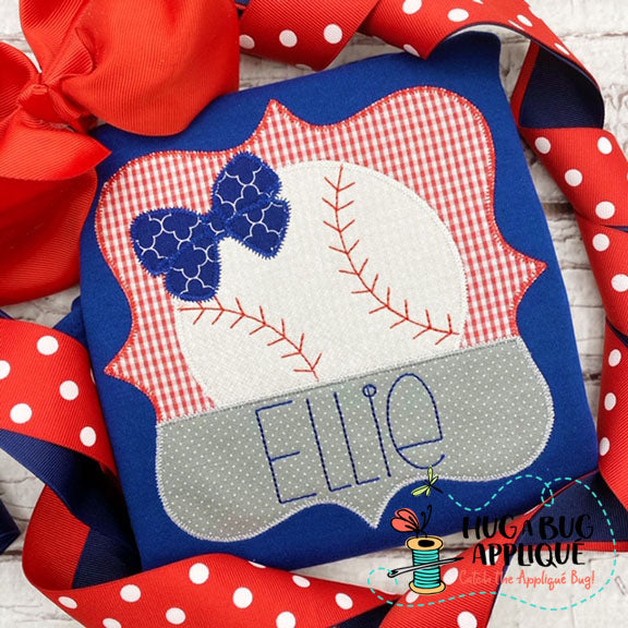 Baseball Bow Split Frame Zig Zag Stitch Applique-Embroidery Boutique