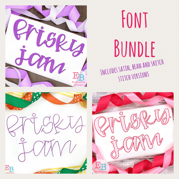 Frisky Jam Embroidery Font Bundle-Embroidery Boutique