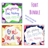 Girl Friday Font Bundle, Embroidery Font
