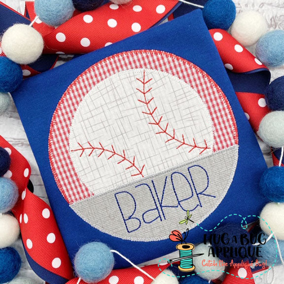 Baseball Split Circle Zig Zag Stitch Applique, Applique