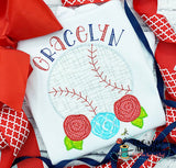 Baseball Flowers Zig Zag Stitch Applique