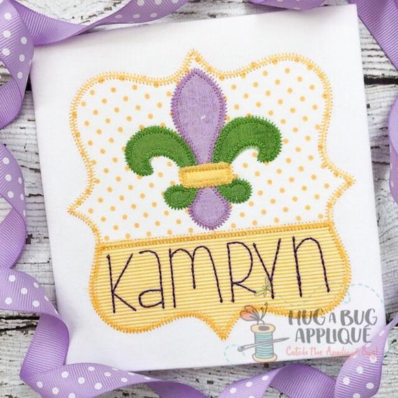 Split Frame Fleur De Lis Zig Zag Stitch Applique Design, Applique