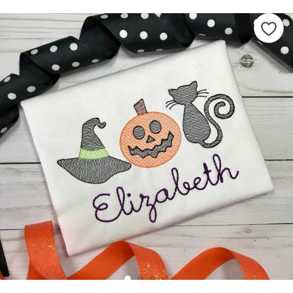 Witch Hat Pumpkin Cat Trio Sketch Embroidery Design, Embroidery