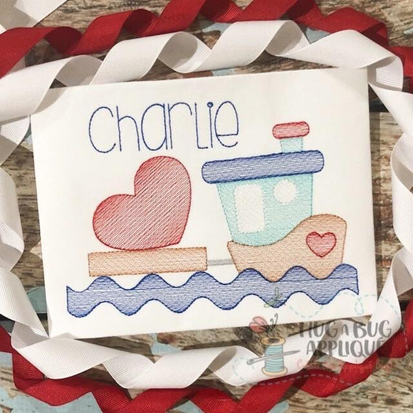 Tug Boat Heart Sketch Stitch Embroidery Design, Embroidery