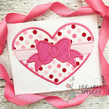 Bow Heart Satin Stitch Applique Design, Applique