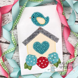 Birdhouse Flowers Zig Zag Stitch Applique Design, Digital Download