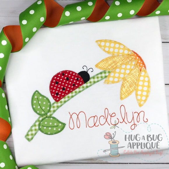 Ladybug Flower Zig Zag Stitch Applique Design, Digital Download
