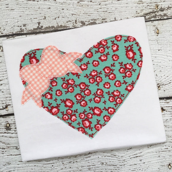 Heart Bow Bean Stitch Applique Design, Applique