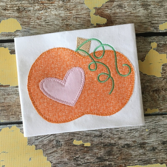 Pumpkin Heart Blanket Stitch Applique Design, Applique