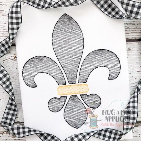 Fleur De Lis Sketch Stitch Embroidery Design, Embroidery