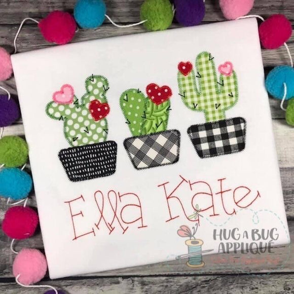 Cactus Hearts Trio Zig Zag Stitch Applique Design, Applique