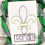Fleur De Lis Scribble Stitch Embroidery Design, Embroidery