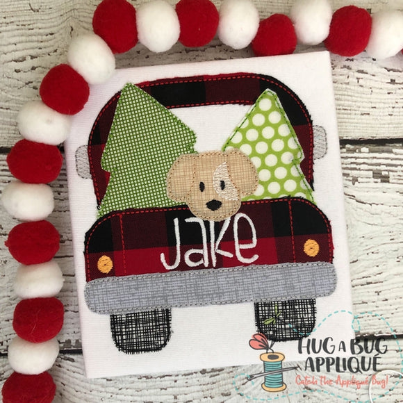 Truck Trees Dog Bean Stitch Applique Design, Applique