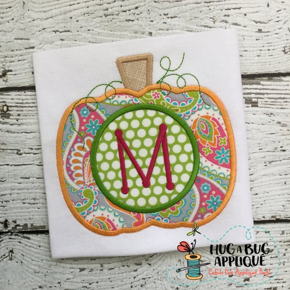 Pumpkin Monogram Satin Stitch Applique Design, Applique