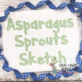Asparagus Sprouts Sketch Stitch Embroidery Font, Embroidery