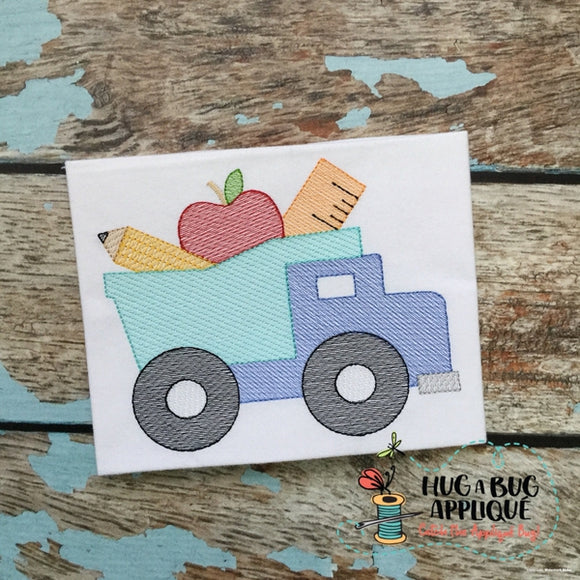 Dump Truck School Filled Sketch Embroidery Design, Embroidery