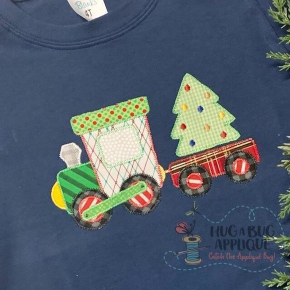 Christmas Train Zig Zag Stitch Applique Design, Applique